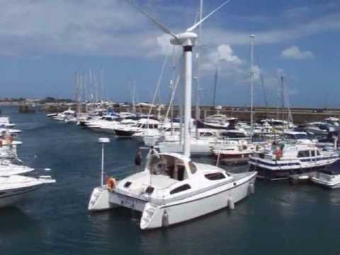 Unusual Catamaran with Wind Turbine Propulsion in Guernsey