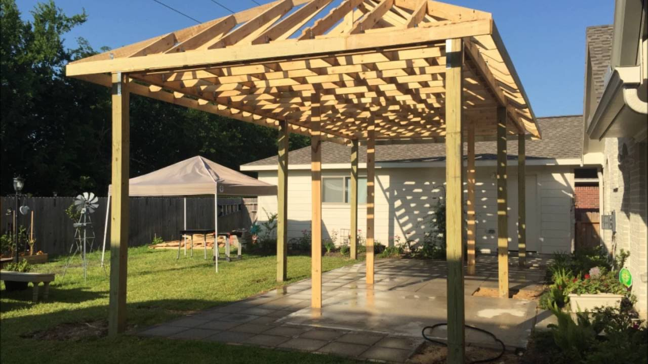 Covered Patio Build - YouTube on House Backyard Deck id=45901