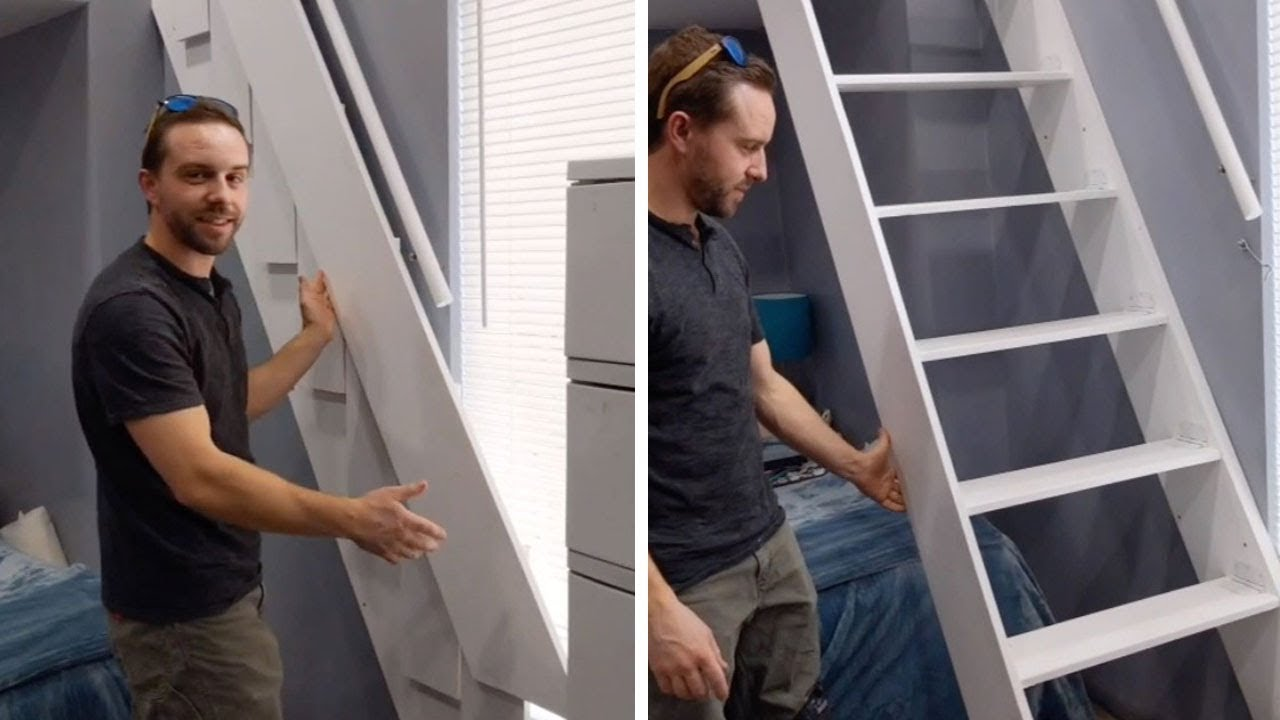 Guy Builds Innovative Folding Stairs Youtube   Folding Stairs With Handrails   Elderly   Hydraulic   Hand Rail   Aluminum   Interior