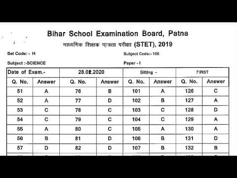 Bihar STET ANSWER KEY जारी ऐसे करें डाउनलोड BIHAR STET ANSWER KEY PDF DOWNLOAD Hindi Club