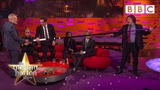 Elton John attempts picture with world's longest selfie stick - The Graham Norton Show - BBC