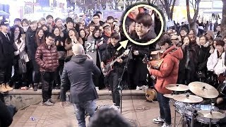 A Teen Boy Suddenly Joined Street Band and Played Ultimate Bass Improvisation [ENG CC]