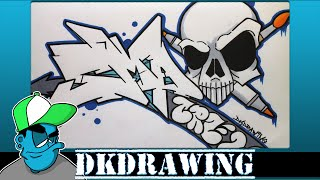 Drawing Graffiti Letters SMA Crew & a Skull Character