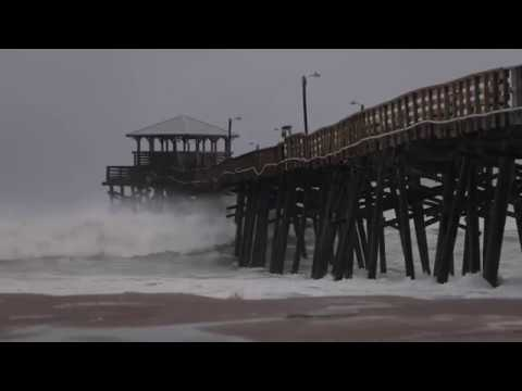 Hurricane Florence Waves slam Oceana Pier Atlantic Beach NC