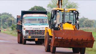 JCB Backhoe Private Land Mud Loading in Tata Dumper Truck For Making Tomato Farm