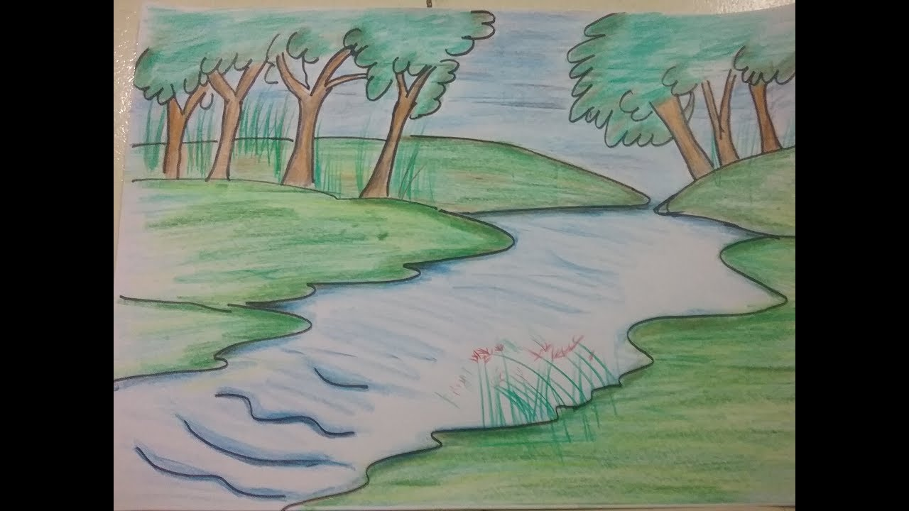 This is a picture of Adorable Drawing A River
