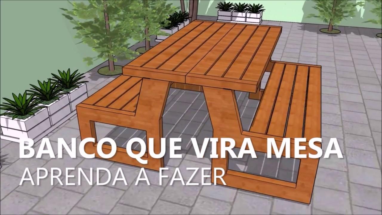 Aparador De Grama Tramontina Parou De Funcionar ~ Banco que Vira Mesa Projeto Faça Voc u00ea Mesmo YouTube