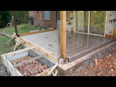 Pouring Concrete Floor Over Concrete Porch Foundation Youtube