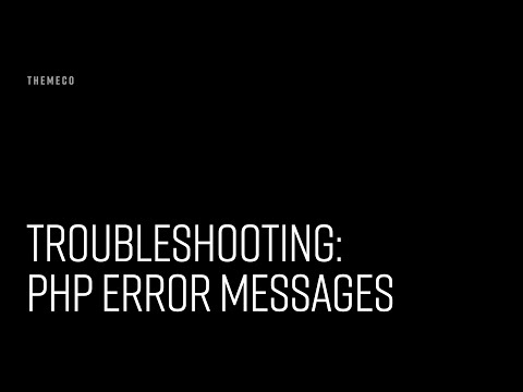 Troubleshooting PHP Error Messages