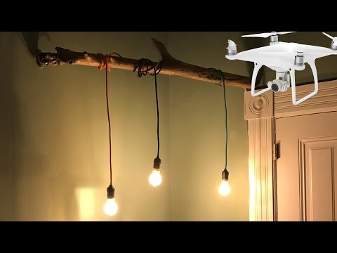 DIY Corner Lamp - How to create a very cool looking lamp with a wood stick and cloth pendant lights
