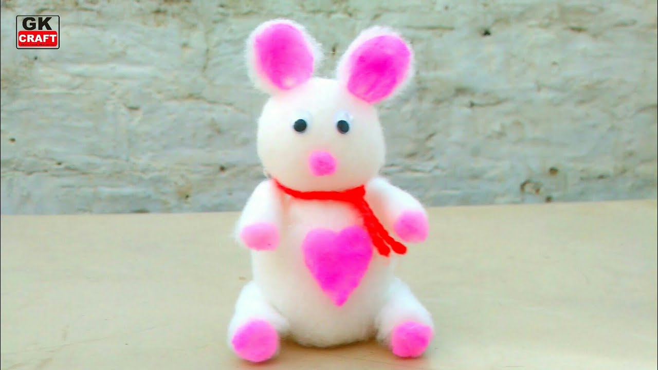 Download Make teddy bear from cotton in very easy method. Gk craft