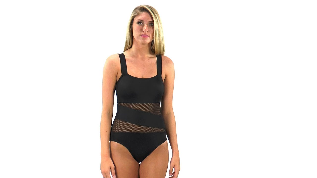 02e0a3b135476 DKNY Solid Mesh Splice One Piece | SwimOutlet.com - YouTube