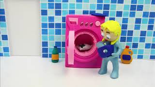Washing machine 💕Superhero Play Doh Stop motion cartoons