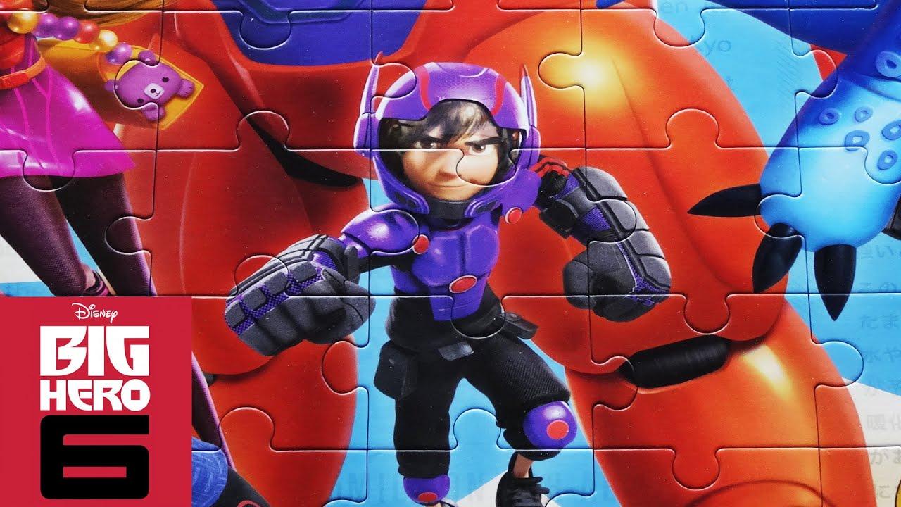 BIG HERO 6 Disney Puzzle Games Jigsaw Puzzles Rompecabezas Hiro Baymax Toys Video For Kids
