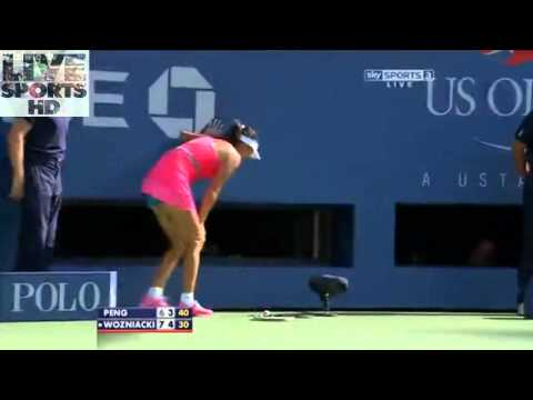 Peng Shuai Cramping In Match Vs Caroline Wozniacki US Open Semi-Final 2014 (HD)