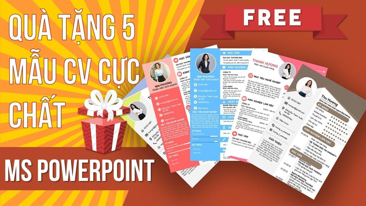 Free 5 mẫu CV xin việc đơn giản dễ làm | Trường học PowerPoint