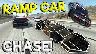 RAMP CAR POLICE CHASES & CRASHES! - BeamNG Gameplay & Crashes - Cop Escape