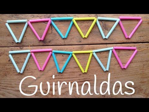 Girnaldas hechas con pajitas para fiestas de niños