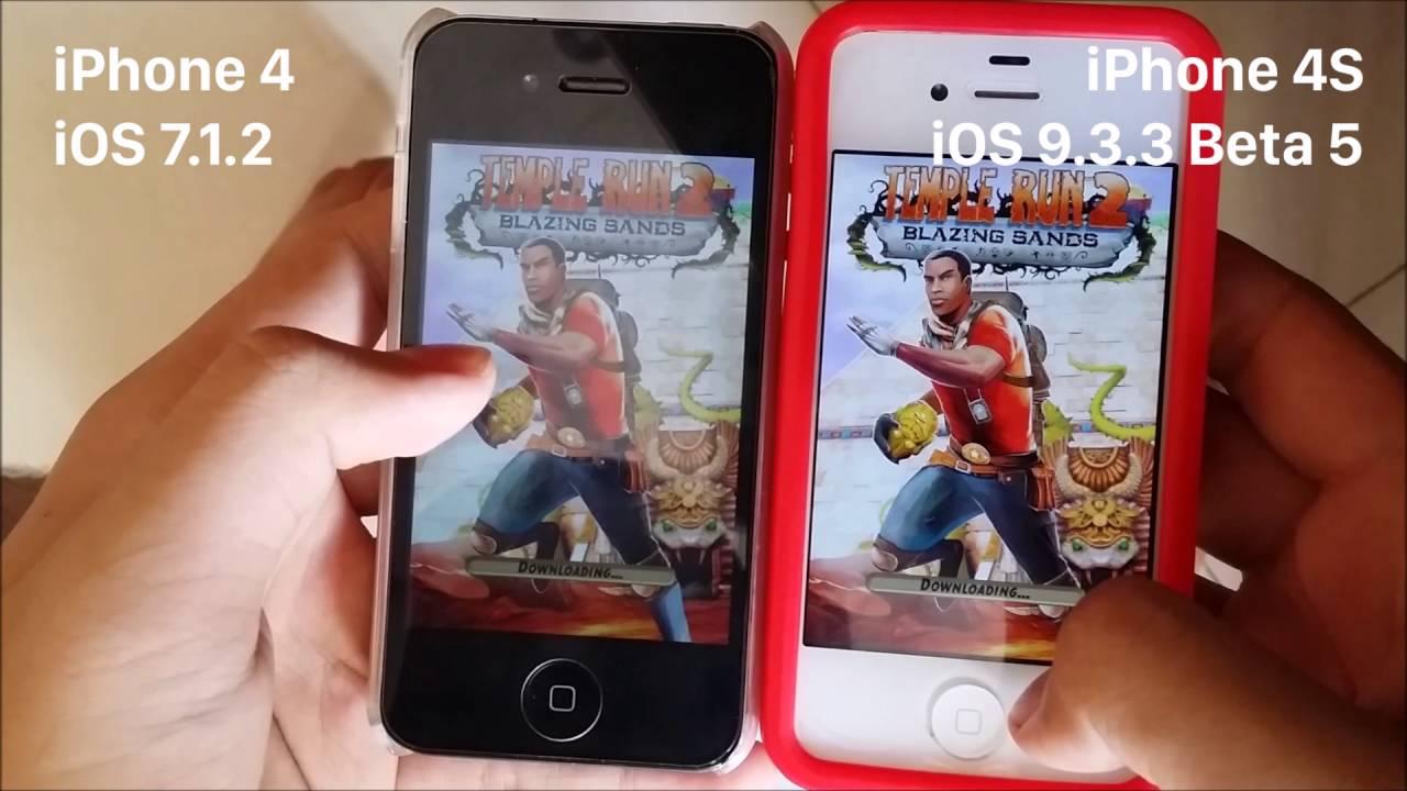 iPhone 4S iOS 9.3.5 vs. iPhone 4 iOS 7.1.2 - YouTube