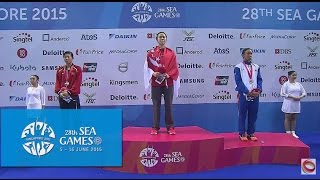 swimming women s 100m freestyle victory ceremony day 3   28th sea games singapore 2015