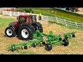 RC TRACTOR WITH ROTARY RAKES  FARMING - Bruder toys tractor action video for kids