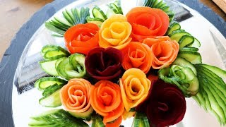Super Salad Decoration Ideas  - How to quickly make Rose Flowers from Vegetables, Decorating Dishes.
