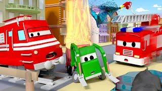 Gary Xe Tải Chở Rác bị cháy ! - xe lửa Troy 🚉 những bộ phim hoạt hình về xe tải