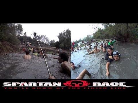 Spartan Sprint Race 2012!, Dual Cams, Split Screen, Malibu SoCal, 5K Mud Run, GoPro 3 & Sony