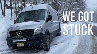 We Got The VAN STUCK  N THE SNOW - Vermont Winter VanLife - Ep 27