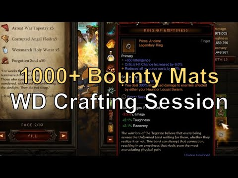 1000 Bounty Mats Wd Crafting Session Diablo 3 Season 20 Youtube