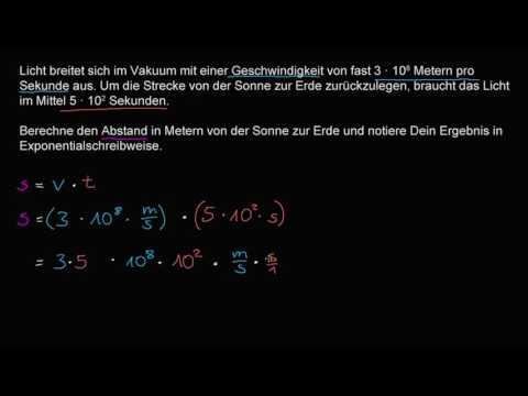 Textaufgabe zur Exponentialschreibweise: Lichtgeschwindigkeit