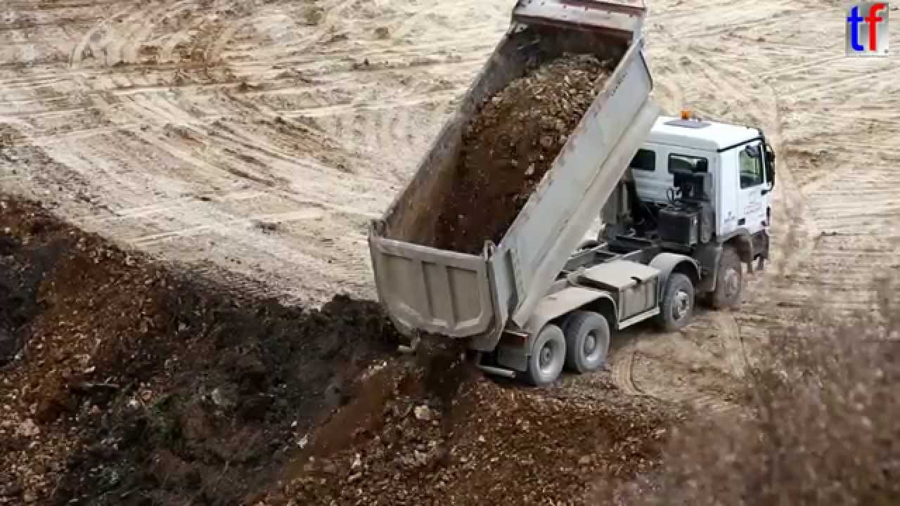 Mercedes Benz Actros Dump Truck Unloading Earth Germany 2014