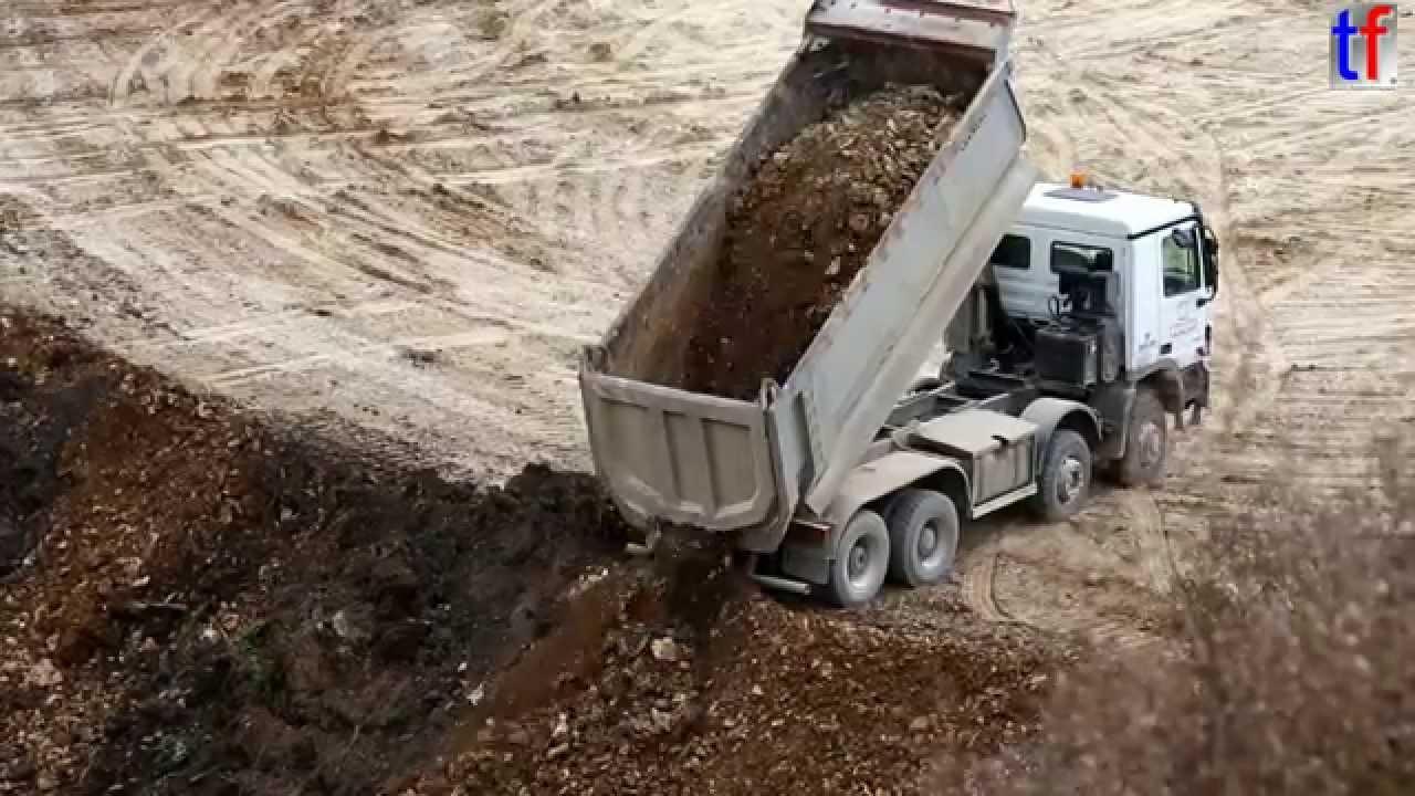 Mercedes Benz Actros Dump Truck Unloading Earth Germany 2014