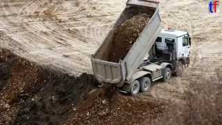 Mercedes-Benz Actros Dump Truck Unloading Earth, Germany, 2014.