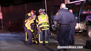 First responders rescue unresponsive male after truck slams into utility polce