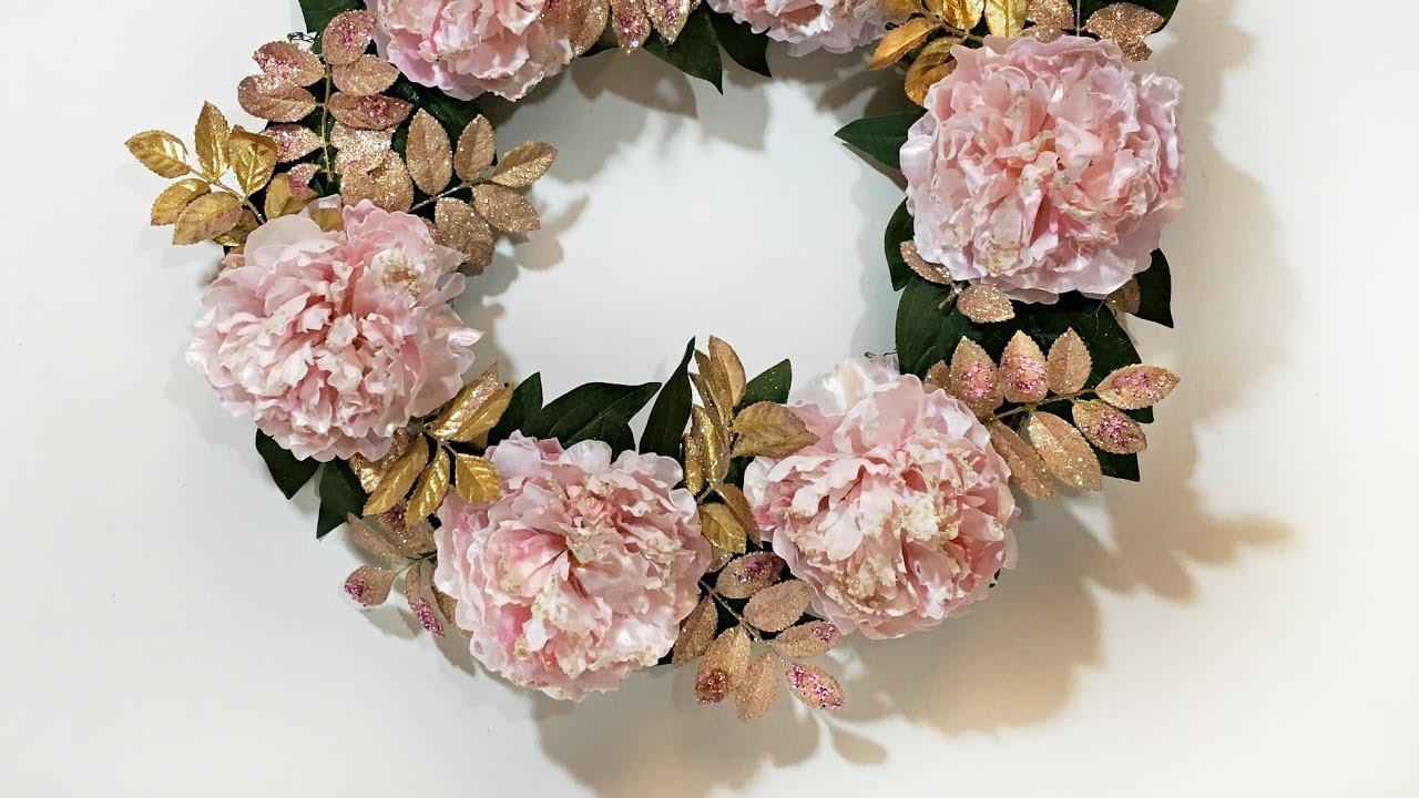 Valentine S Day Wreath In Pink Gold Diy Valentine S Day Decor