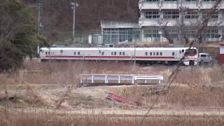 磐越東線 要田駅 キヤE193系検測車 運転停車到着 2019.02.20