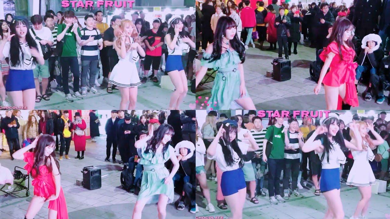 스타후르츠(Starfruit, 스타프루트) ♩Twice Likey & AOA 단발머리♪ Chocolate 직캠(Fancam) 홍대 Busking(버스킹) 2019