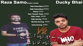 Ducky Bhai Vs Awesomo Speaks (Khujlee Faimly) Earning Views Subscribers