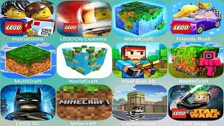 Minecraft,Roblox,Mini World: Block Art,Lego,Batman,City,Merlok,Ninjago,Trains,Marvel,Jurassic