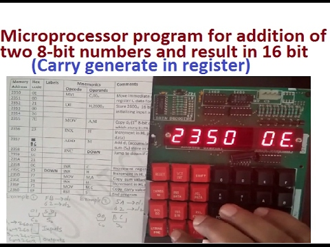 addition of two 8 bit numbers using memory in 8085 microprocessor  8085  programming