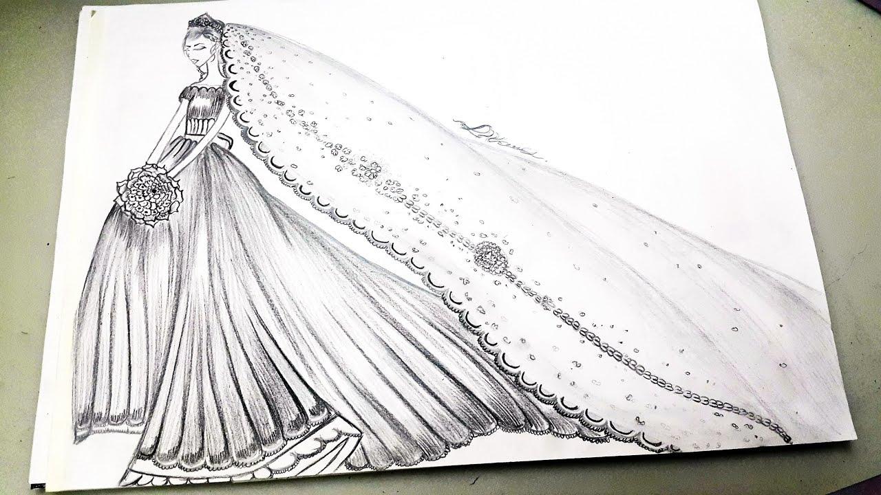 ec7e25c94 رسم فستان زفاف بقلم الرصاص/Drawing dress - YouTube