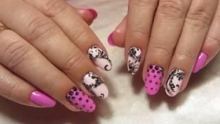 Яркие розовые ногти с рисунком