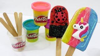 Download lagu Play Doh Sparkle Playdough Ice Cream Popsicle PICOLÉS DE MASSINHA BRILHANTE MP3