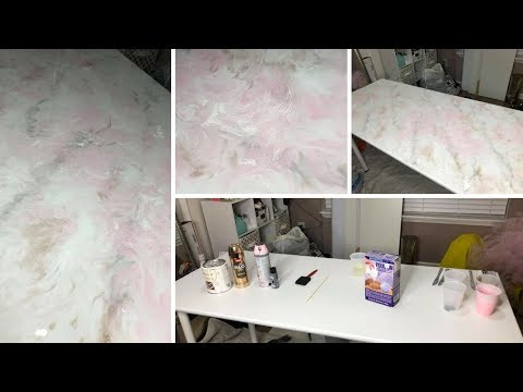 Faux Marble Epoxy Table DIY | NeesieDoesiT