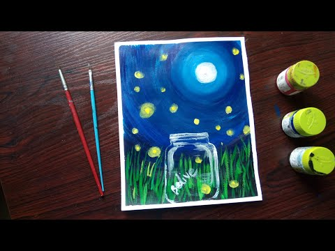 Easy Acrylic Painting for beginners || Moonlight scenery painting with Acrylic step by step ||Simple