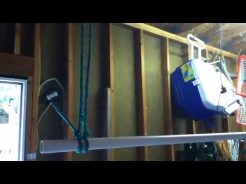 Homemade Suspended Clothing Rack For Garage Sale Youtube