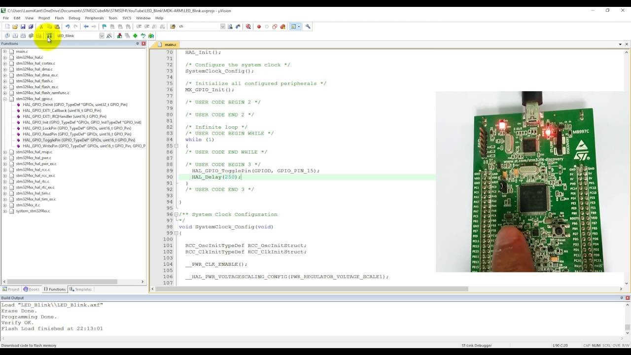 STM32F4 Programming in C 1- LED Blinky coding in Keil using STM32CubeMx