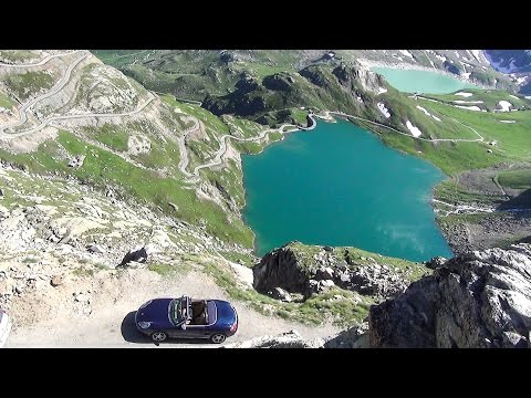 Dangerous & Spectacular Drive. 2600mt Above Sea Level. Porsche Boxster at Nivolet Pass, Italy Alps