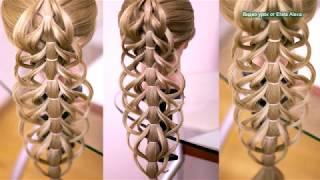 Ажурная коса без плетения, на резиночках  Причёска для длинных волос  Hair tutorial